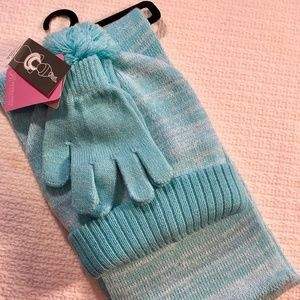 Women's blue hat, gloves and scarf set